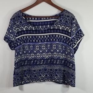 CHARLOTTE RUSSE Aztec Printed Top (open back)
